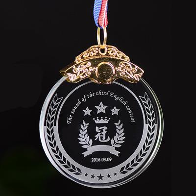 Médaille en cristal avec gravure